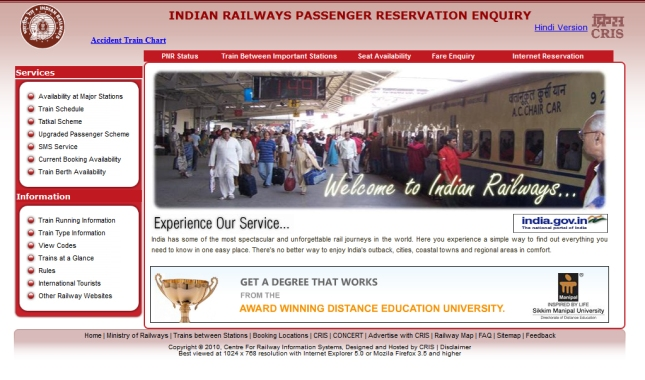 Indian Railways Passenger Reservation Enquiry Knowledge