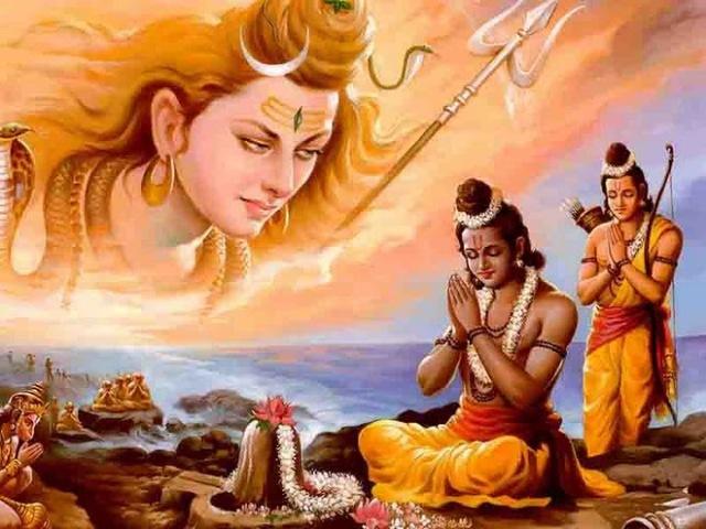 Ram & Laxman Praying Shiva Lingam