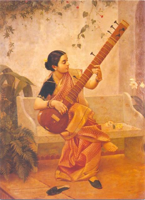 Raja Ravi Varma's Paintings: South Indian Women with Veena