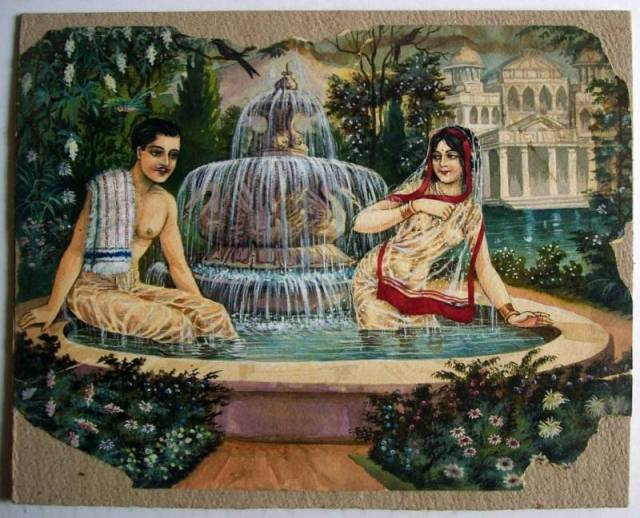 Man & Woman Bathing Together - Romantic Vintage Painting by B.K. Mitra