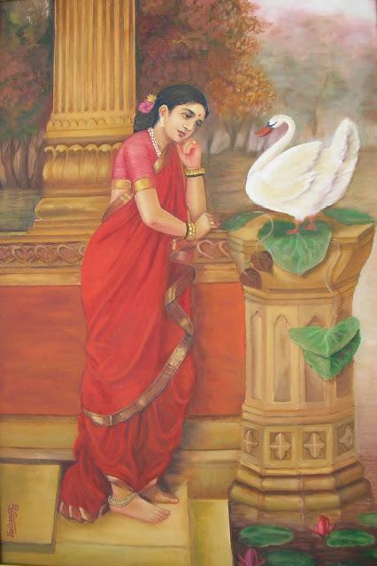 Raja Ravi Varma's Damayanthi - Oil on Canvas