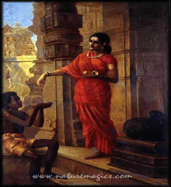 Raja Ravi Varma's Paintings: South Indian Women Donating to Begger in Temple