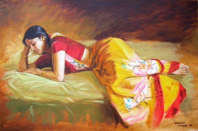 Ilayaraja Paintings: Tamilnadu Girls