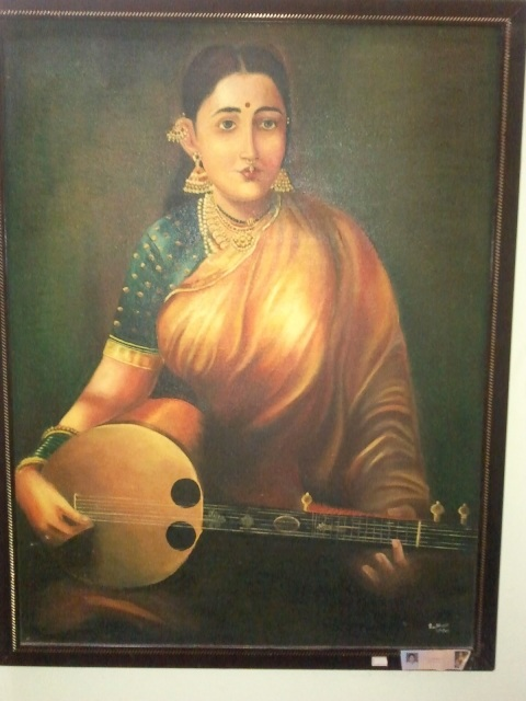 Raja Ravi Varma's Paintings: Lady with Sithare
