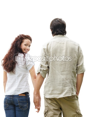 dep_3466711-Rear-view-of-a-couple-against-white-with-female-looking-behind